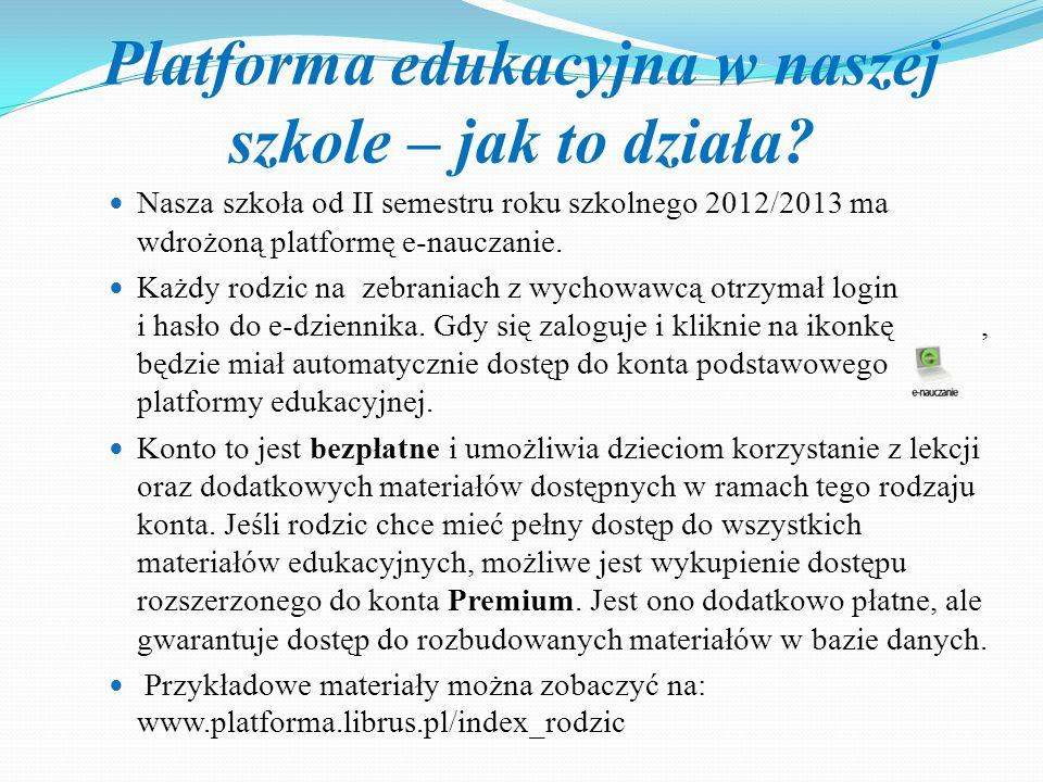 Platforma edukacyjna w naszej szkole – jak to działa? Nasza szkoła od II semestru roku szkolnego 2012/2013 ma wdrożoną platformę e-nauczanie. Każdy ro