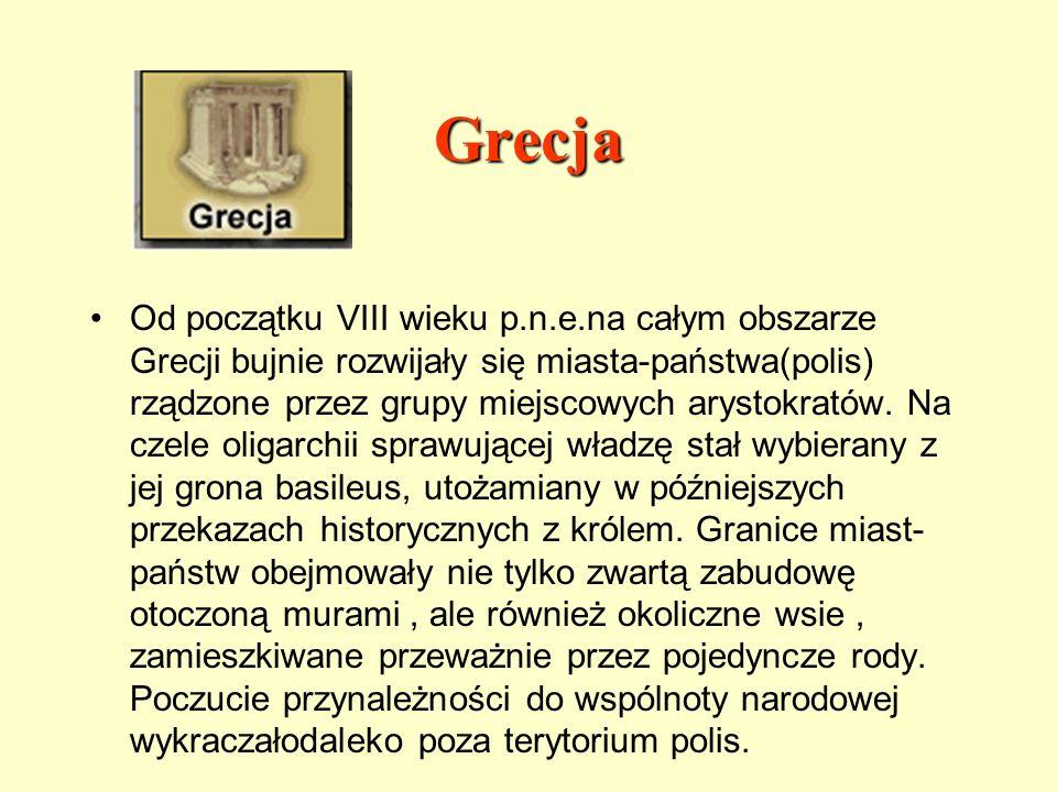 Grecja Od początku VIII wieku p.n.e.na całym obszarze Grecji bujnie rozwijały się miasta-państwa(polis) rządzone przez grupy miejscowych arystokratów.