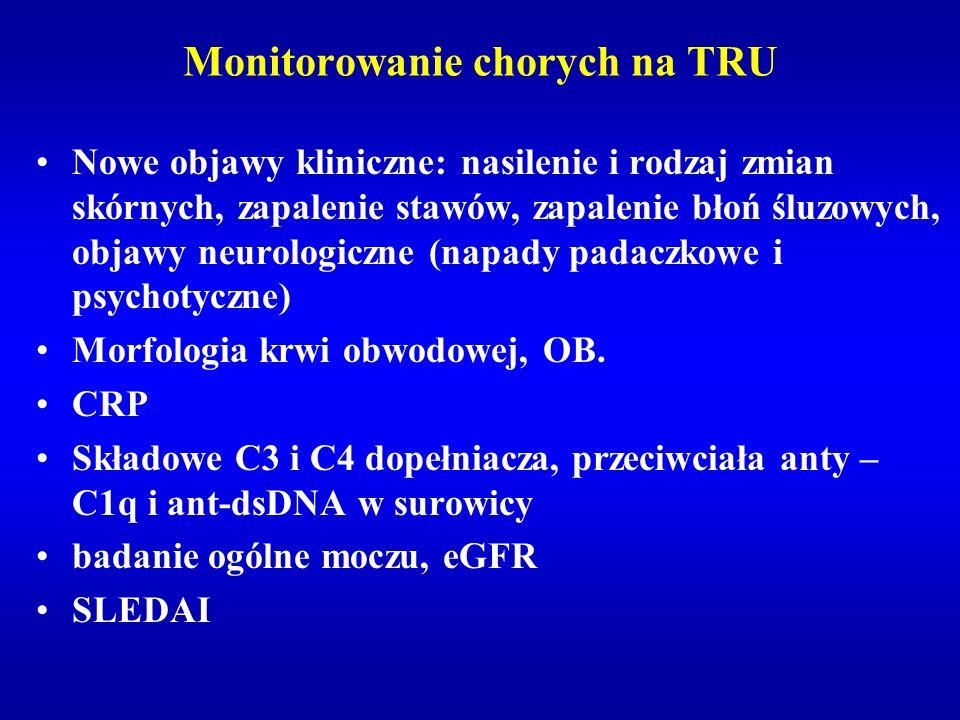 Monitorowanie chorych na TRU Nowe objawy kliniczne: nasilenie i rodzaj zmian skórnych, zapalenie stawów, zapalenie błoń śluzowych, objawy neurologiczn