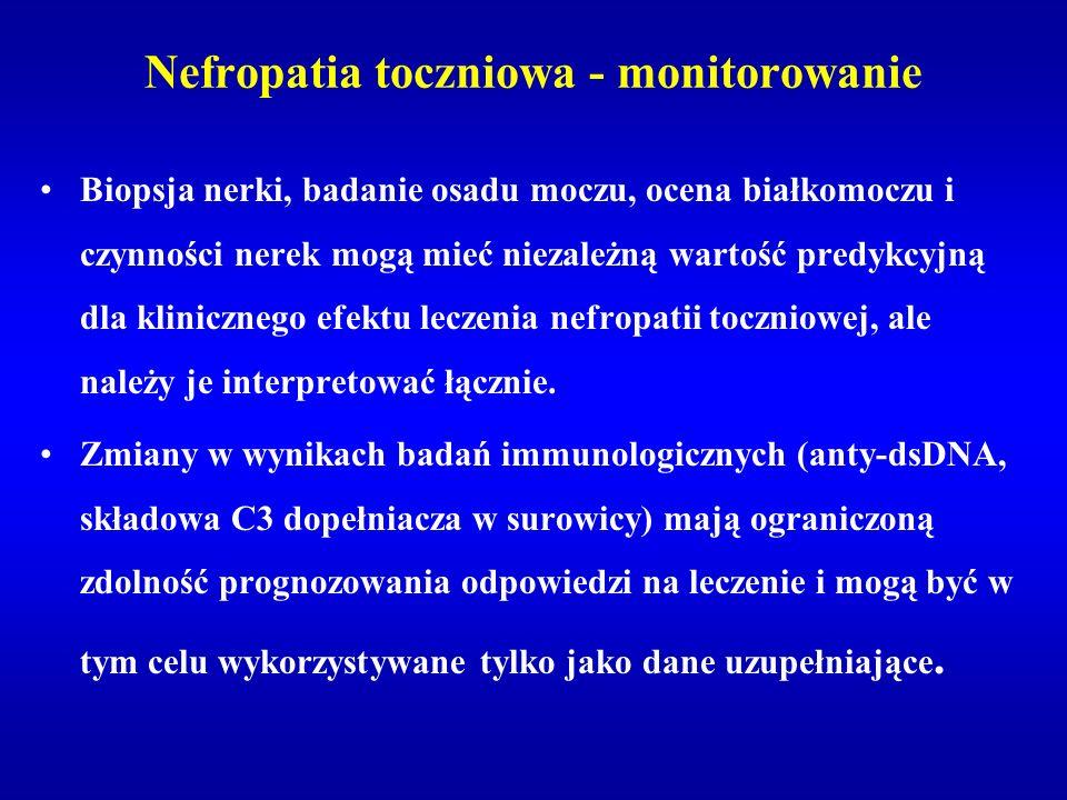Nefropatia toczniowa - monitorowanie Biopsja nerki, badanie osadu moczu, ocena białkomoczu i czynności nerek mogą mieć niezależną wartość predykcyjną