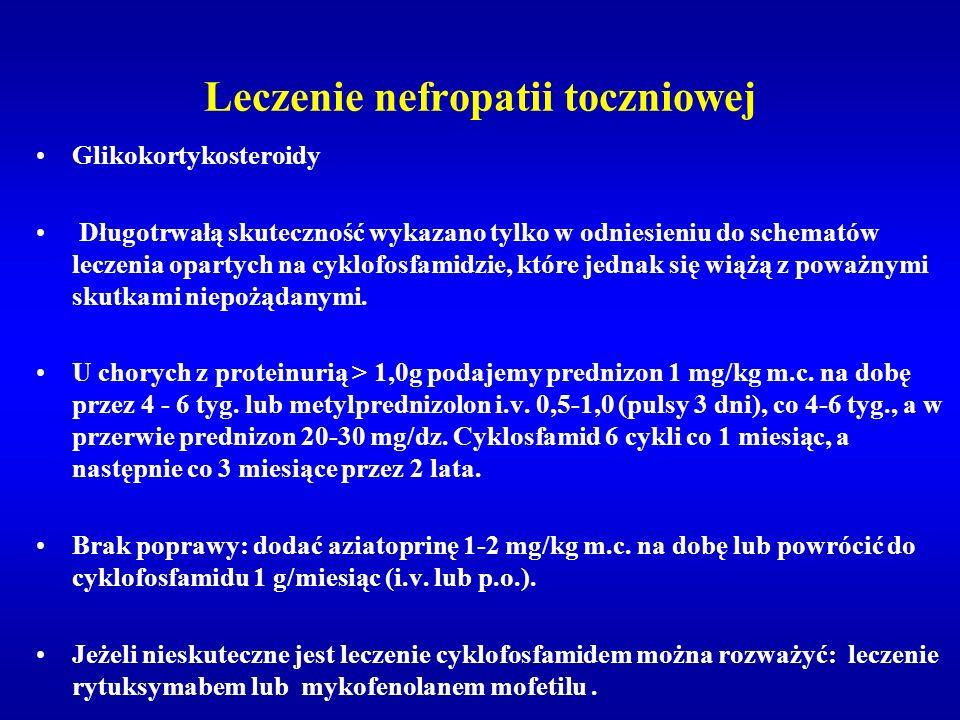 Leczenie nefropatii toczniowej Glikokortykosteroidy Długotrwałą skuteczność wykazano tylko w odniesieniu do schematów leczenia opartych na cyklofosfam