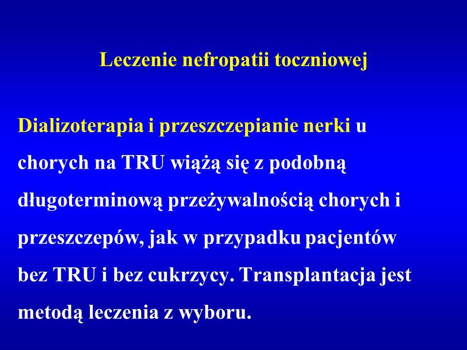 Leczenie nefropatii toczniowej Dializoterapia i przeszczepianie nerki u chorych na TRU wiążą się z podobną długoterminową przeżywalnością chorych i pr