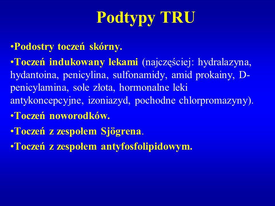 Podtypy TRU Podostry toczeń skórny. Toczeń indukowany lekami (najczęściej: hydralazyna, hydantoina, penicylina, sulfonamidy, amid prokainy, D- penicyl