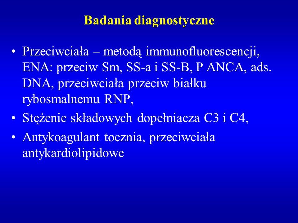 Badania diagnostyczne Przeciwciała – metodą immunofluorescencji, ENA: przeciw Sm, SS-a i SS-B, P ANCA, ads. DNA, przeciwciała przeciw białku rybosmaln