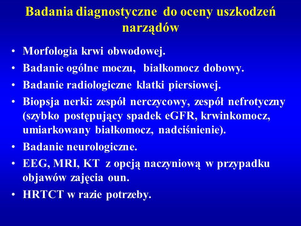 Badania diagnostyczne do oceny uszkodzeń narządów Morfologia krwi obwodowej. Badanie ogólne moczu, białkomocz dobowy. Badanie radiologiczne klatki pie