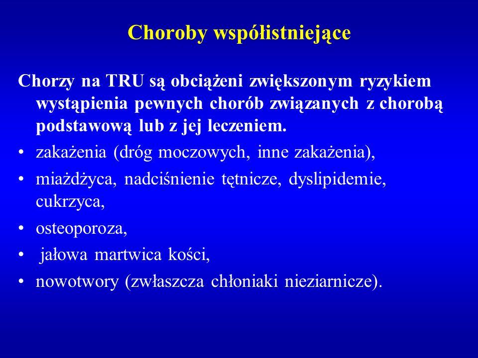 Choroby współistniejące Chorzy na TRU są obciążeni zwiększonym ryzykiem wystąpienia pewnych chorób związanych z chorobą podstawową lub z jej leczeniem