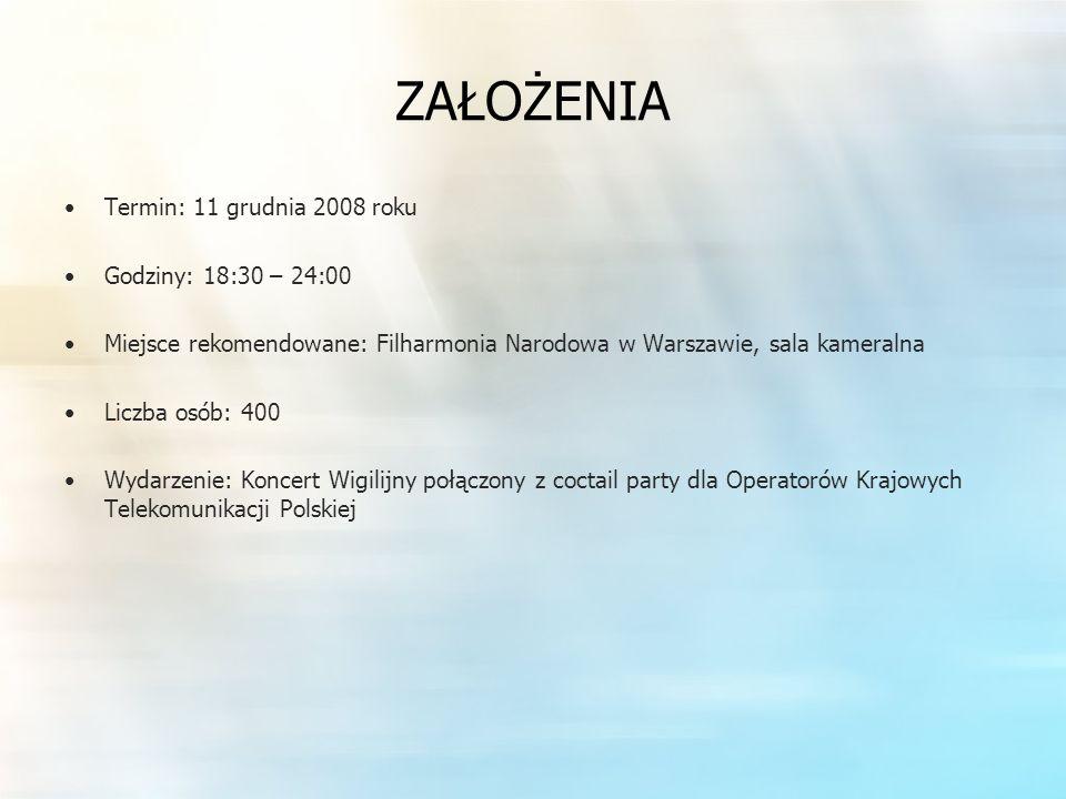 ZAŁOŻENIA Termin: 11 grudnia 2008 roku Godziny: 18:30 – 24:00 Miejsce rekomendowane: Filharmonia Narodowa w Warszawie, sala kameralna Liczba osób: 400