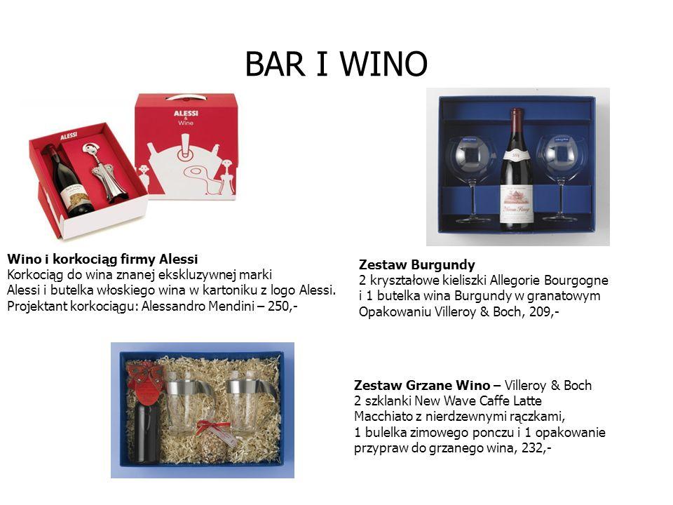 BAR I WINO Wino i korkociąg firmy Alessi Korkociąg do wina znanej ekskluzywnej marki Alessi i butelka włoskiego wina w kartoniku z logo Alessi.