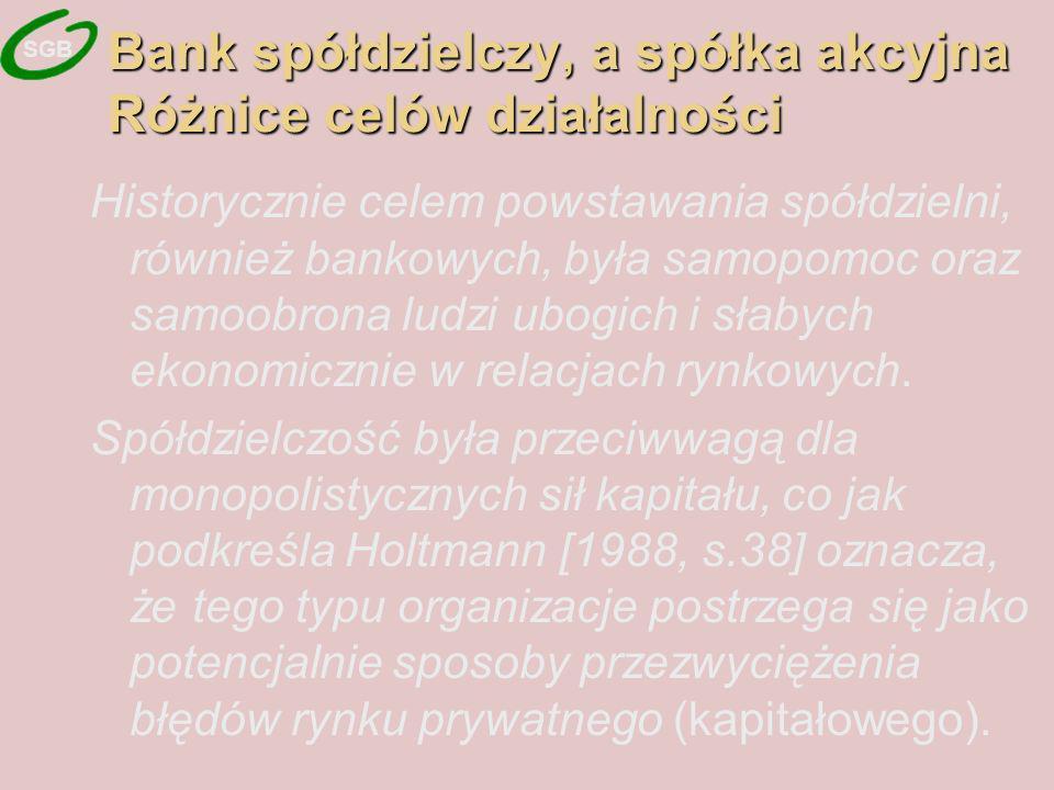 Bank spółdzielczy, a spółka akcyjna Różnice celów działalności Historycznie celem powstawania spółdzielni, również bankowych, była samopomoc oraz samoobrona ludzi ubogich i słabych ekonomicznie w relacjach rynkowych.
