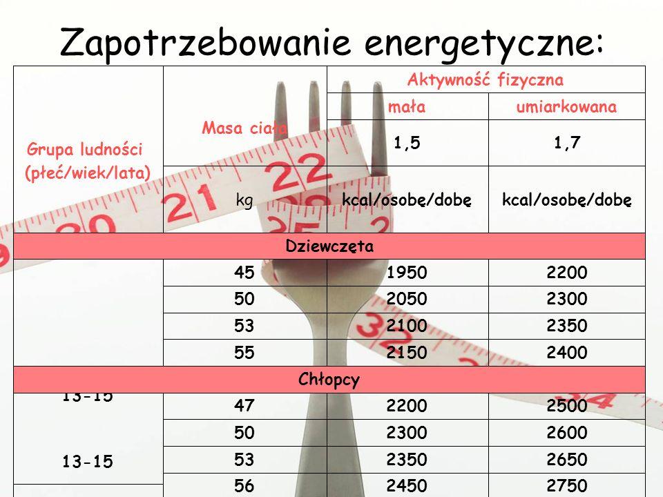 Zapotrzebowanie energetyczne: