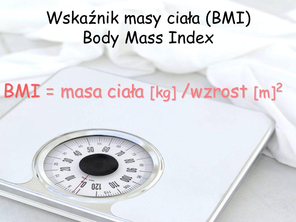 Wskaźnik masy ciała (BMI) Body Mass Index BMI = masa ciała [kg] /wzrost [m] 2