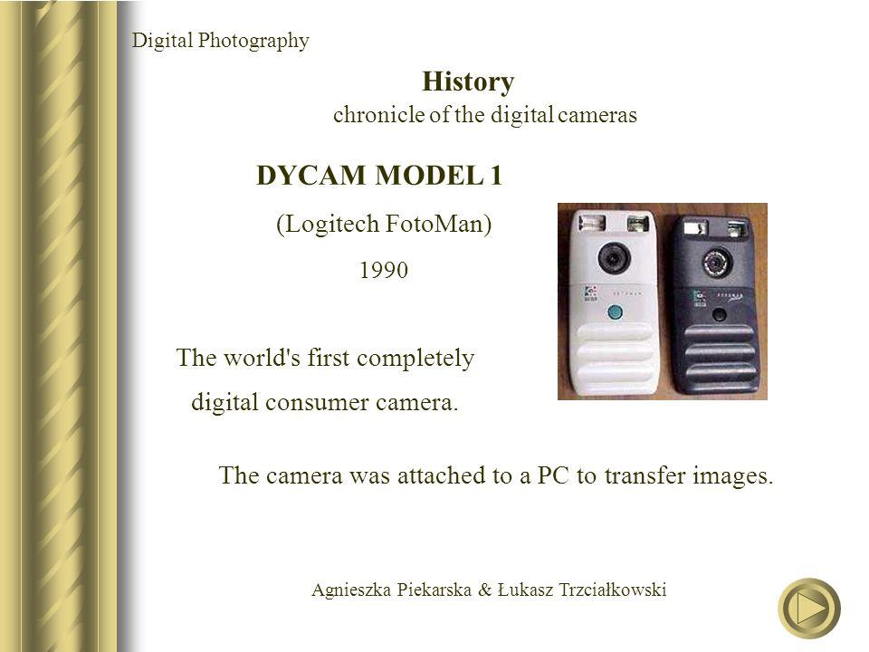 Agnieszka Piekarska & Łukasz Trzciałkowski DYCAM MODEL 1 (Logitech FotoMan) 1990 The world s first completely digital consumer camera.