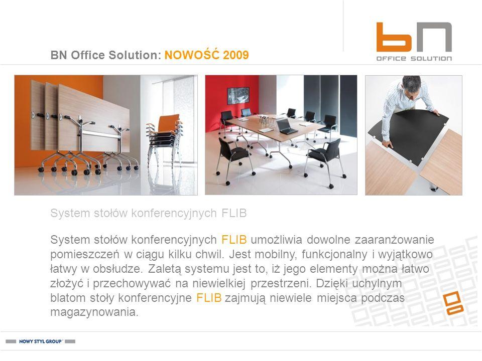 BN Office Solution: NOWOŚĆ 2009 System stołów konferencyjnych FLIB System stołów konferencyjnych FLIB umożliwia dowolne zaaranżowanie pomieszczeń w ci