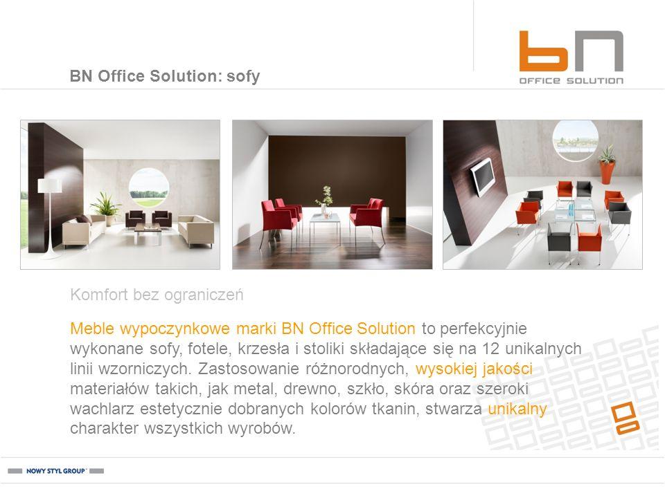 Meble wypoczynkowe marki BN Office Solution to perfekcyjnie wykonane sofy, fotele, krzesła i stoliki składające się na 12 unikalnych linii wzorniczych