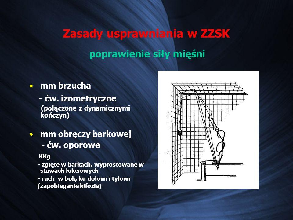 Zasady usprawniania w ZZSK poprawienie siły mięśni mm brzucha - ćw.