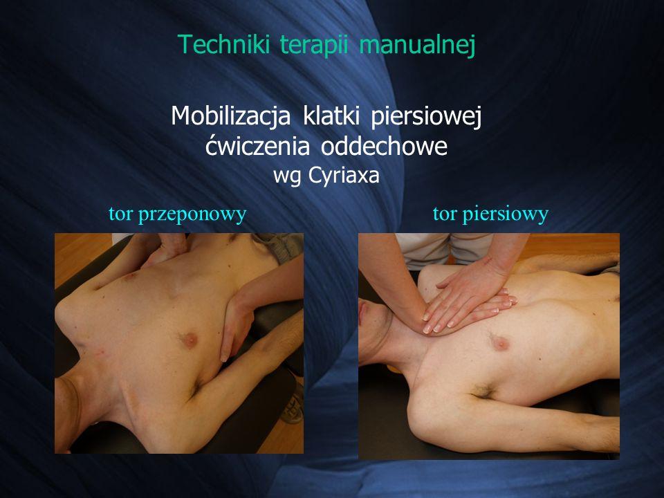 Techniki terapii manualnej Mobilizacja klatki piersiowej ćwiczenia oddechowe wg Cyriaxa tor przeponowytor piersiowy