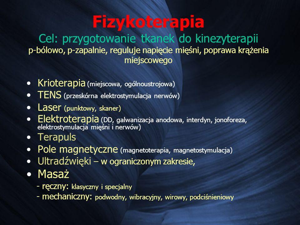 Fizykoterapia Cel: przygotowanie tkanek do kinezyterapii p-bólowo, p-zapalnie, reguluje napięcie mięśni, poprawa krążenia miejscowego Krioterapia (miejscowa, ogólnoustrojowa) TENS (przeskórna elektrostymulacja nerwów) Laser (punktowy, skaner) Elektroterapia (DD, galwanizacja anodowa, interdyn, jonoforeza, elektrostymulacja mięśni i nerwów) Terapuls Pole magnetyczne (magnetoterapia, magnetostymulacja) Ultradźwięki – w ograniczonym zakresie, Masaż - ręczny: klasyczny i specjalny - mechaniczny: podwodny, wibracyjny, wirowy, podciśnieniowy
