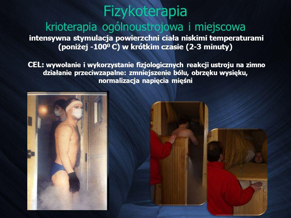 Fizykoterapia krioterapia ogólnoustrojowa i miejscowa intensywna stymulacja powierzchni ciała niskimi temperaturami (poniżej -100 0 C) w krótkim czasi