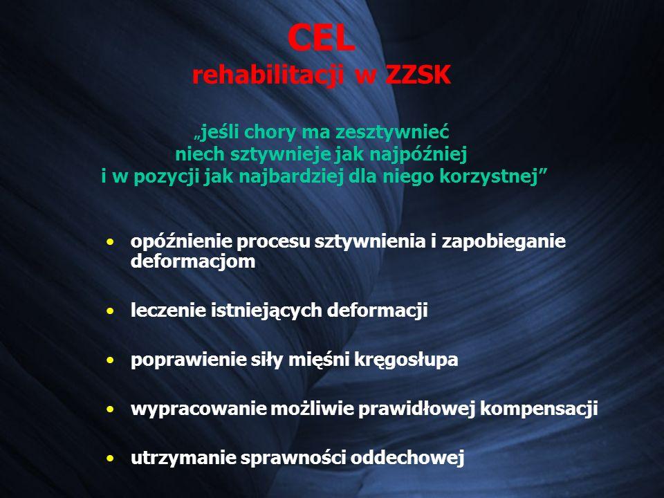CEL rehabilitacji w ZZSK jeśli chory ma zesztywnieć niech sztywnieje jak najpóźniej i w pozycji jak najbardziej dla niego korzystnej opóźnienie procesu sztywnienia i zapobieganie deformacjom leczenie istniejących deformacji poprawienie siły mięśni kręgosłupa wypracowanie możliwie prawidłowej kompensacji utrzymanie sprawności oddechowej