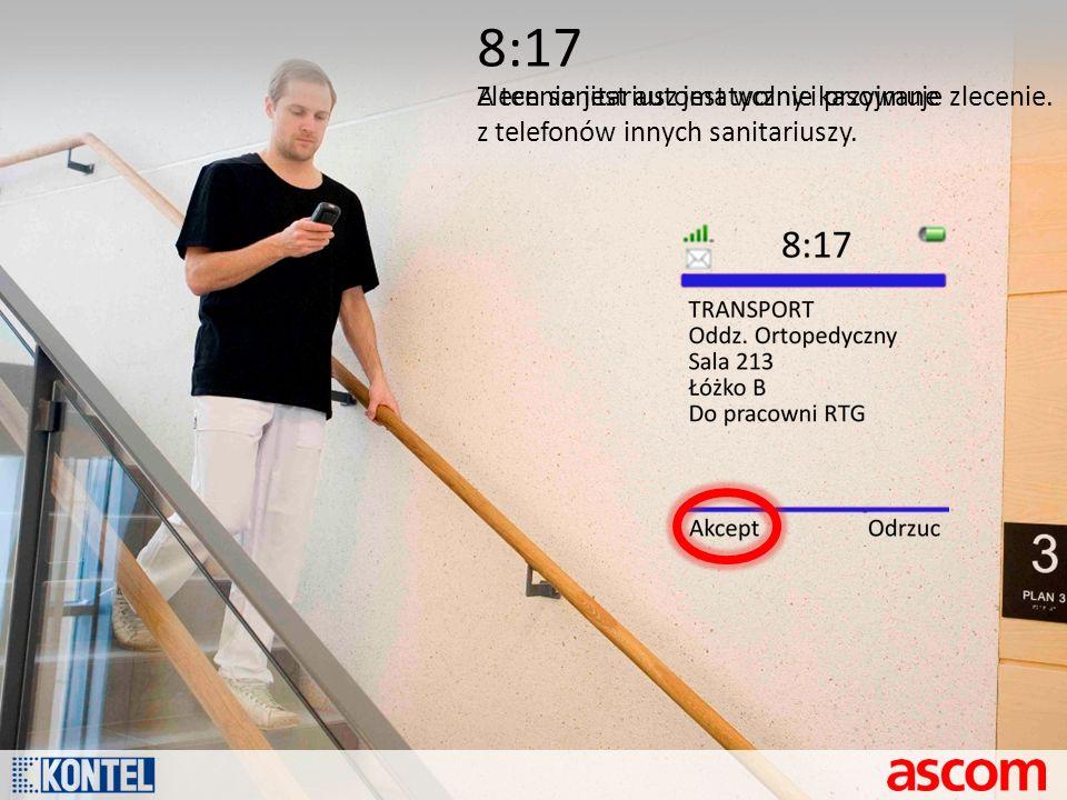 8:17 Zlecenie jest automatycznie kasowane z telefonów innych sanitariuszy. A ten sanitariusz jest wolny i przyjmuje zlecenie.