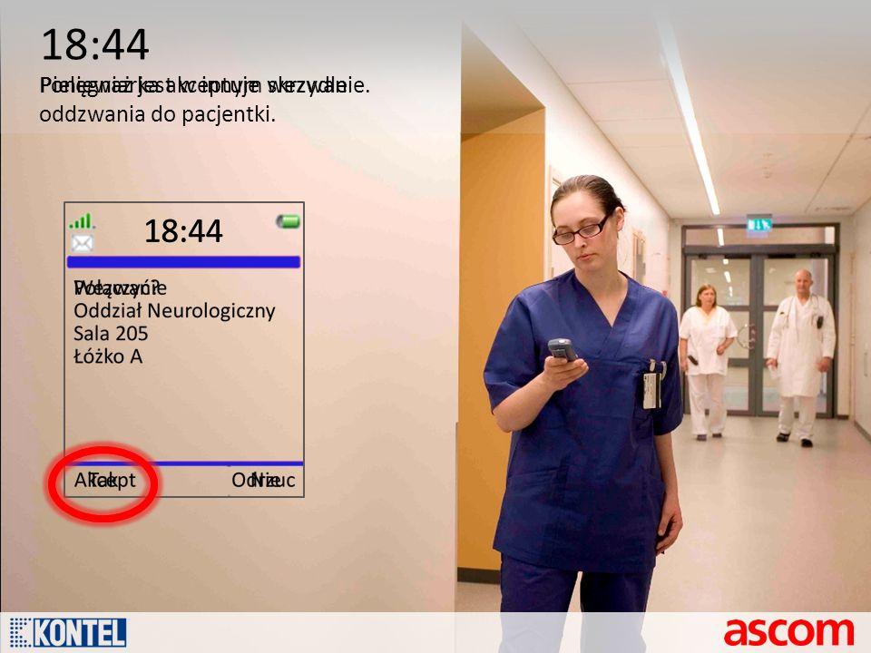 18:44 Pielęgniarka akceptuje wezwanie.Ponieważ jest w innym skrzydle oddzwania do pacjentki.