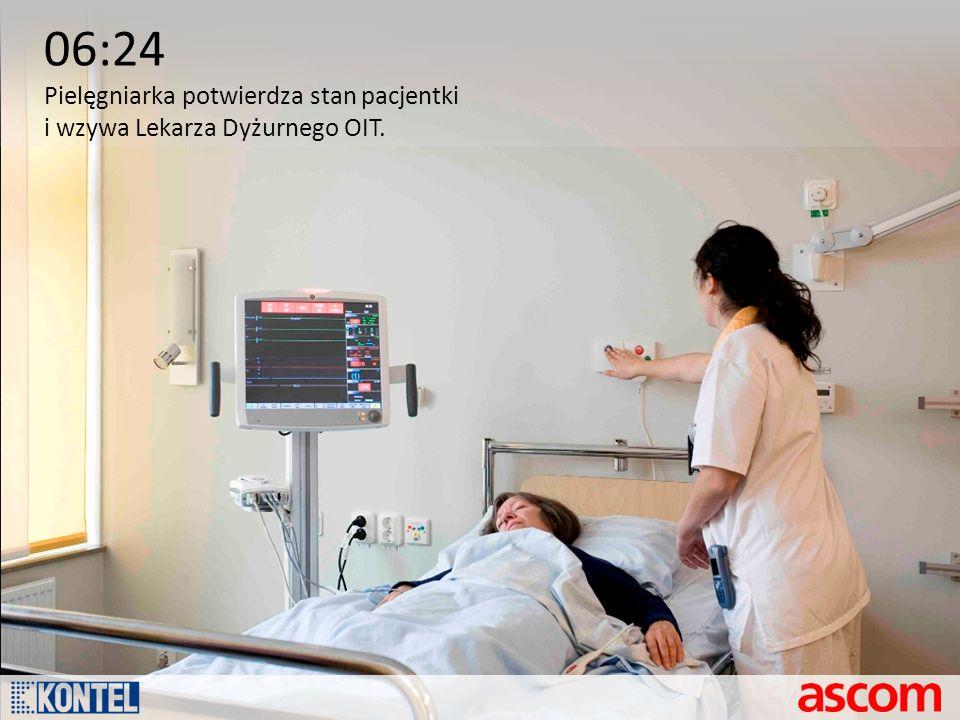 06:24 Pielęgniarka potwierdza stan pacjentki i wzywa Lekarza Dyżurnego OIT.