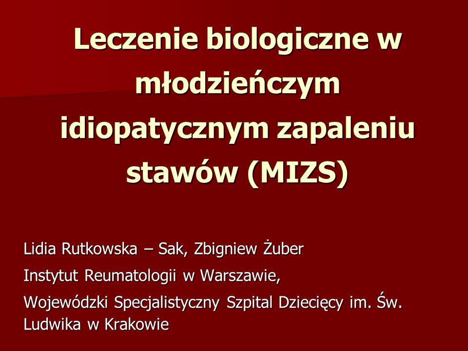 MIZS – Leczenie etanerceptem 61 chorych – (postać układowa) – 12 m-cy obserwacji: 61 chorych – (postać układowa) – 12 m-cy obserwacji: Przerwana terapia – 50% Zaostrzenie – 17% Quartier P.