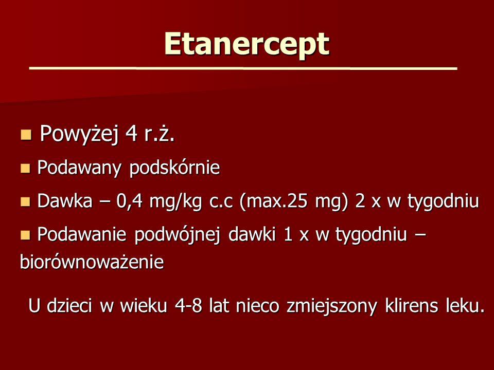 Etanercept Powyżej 4 r.ż. Powyżej 4 r.ż. Podawany podskórnie Podawany podskórnie Dawka – 0,4 mg/kg c.c (max.25 mg) 2 x w tygodniu Dawka – 0,4 mg/kg c.