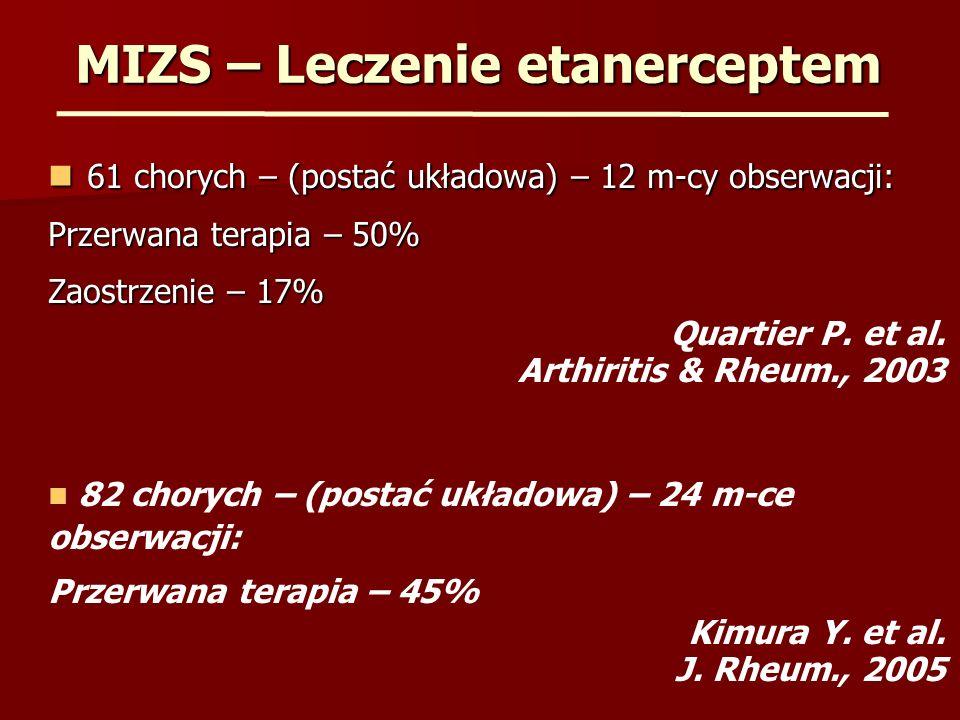 MIZS – Leczenie etanerceptem 61 chorych – (postać układowa) – 12 m-cy obserwacji: 61 chorych – (postać układowa) – 12 m-cy obserwacji: Przerwana terap