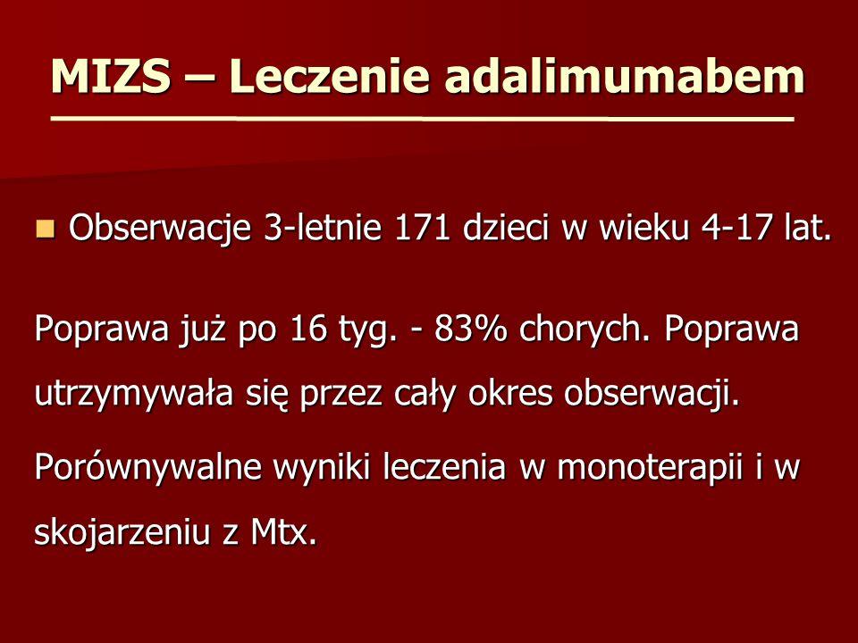 MIZS – Leczenie adalimumabem Obserwacje 3-letnie 171 dzieci w wieku 4-17 lat. Obserwacje 3-letnie 171 dzieci w wieku 4-17 lat. Poprawa już po 16 tyg.