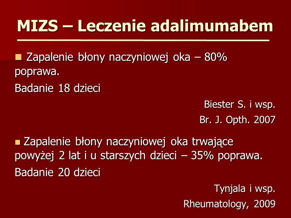 MIZS – Leczenie adalimumabem Zapalenie błony naczyniowej oka – 80% poprawa. Zapalenie błony naczyniowej oka – 80% poprawa. Badanie 18 dzieci Biester S