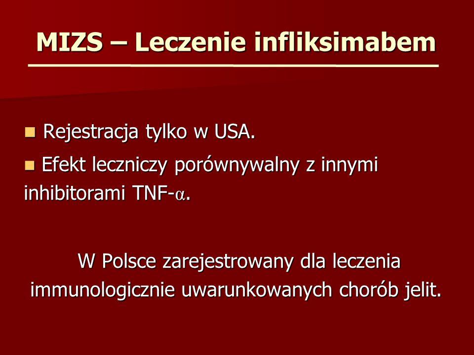 MIZS – Leczenie infliksimabem Rejestracja tylko w USA. Rejestracja tylko w USA. Efekt leczniczy porównywalny z innymi inhibitorami TNF- α. Efekt leczn