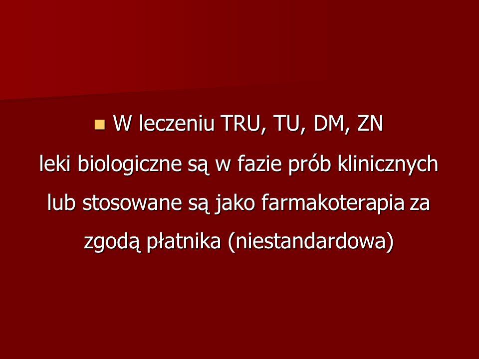 W leczeniu TRU, TU, DM, ZN W leczeniu TRU, TU, DM, ZN leki biologiczne są w fazie prób klinicznych lub stosowane są jako farmakoterapia za zgodą płatnika (niestandardowa)