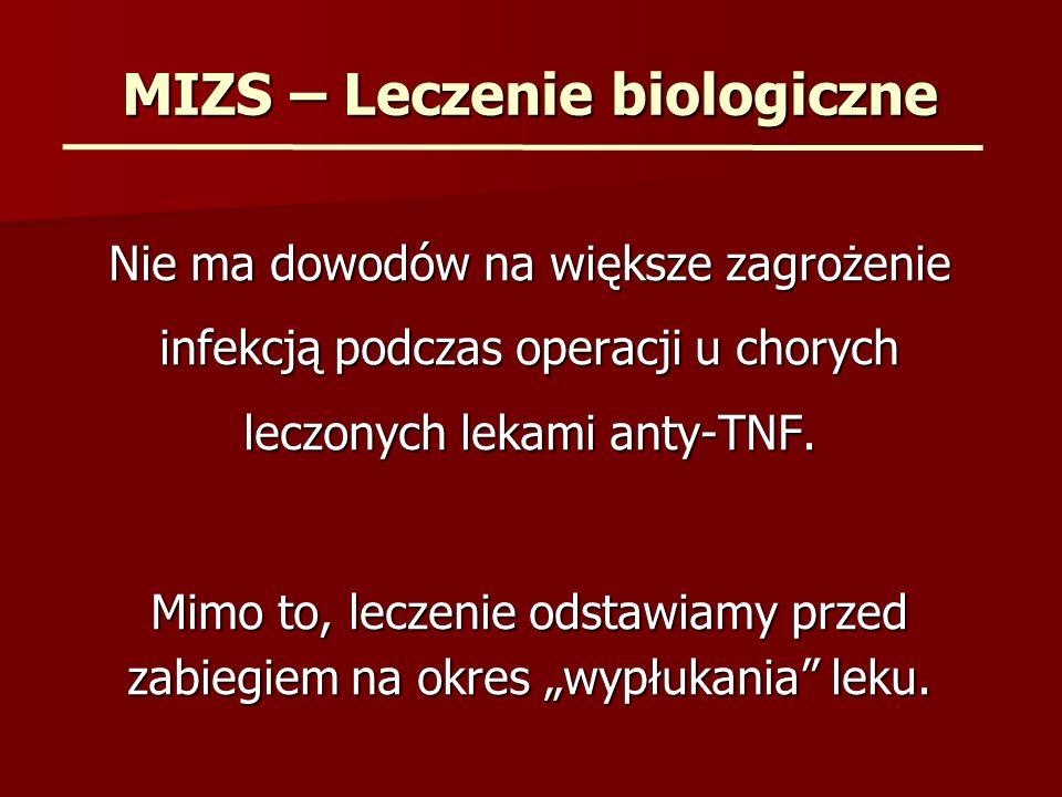 MIZS – Leczenie biologiczne Nie ma dowodów na większe zagrożenie infekcją podczas operacji u chorych leczonych lekami anty-TNF. Mimo to, leczenie odst