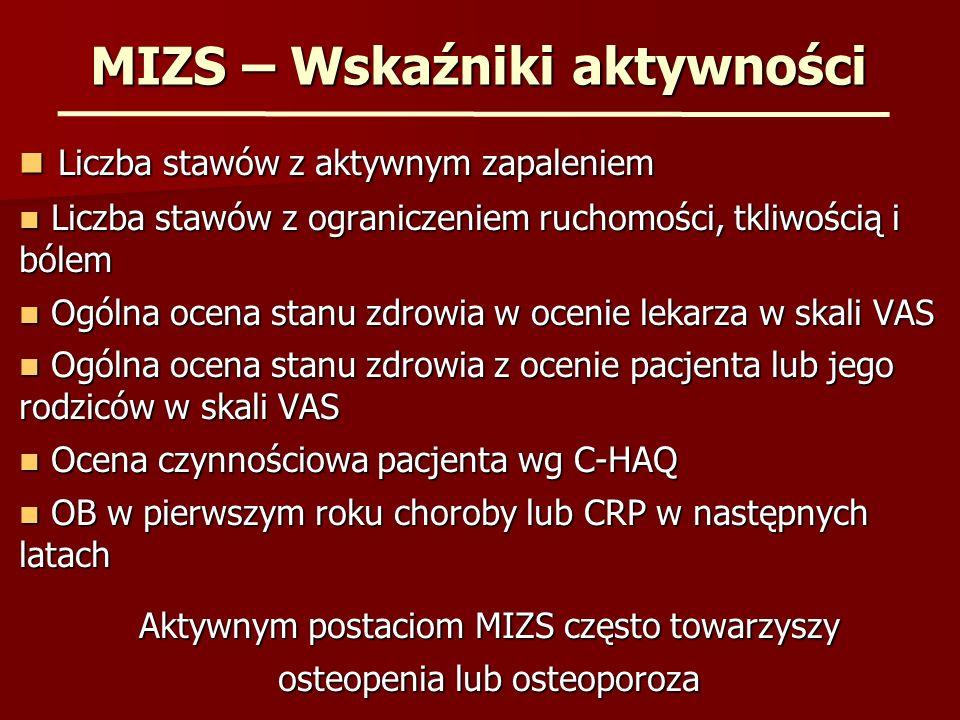 MIZS – Leczenie anakinrą Postać uogólniona – 20 chorych Postać uogólniona – 20 chorych Poprawa - ~ 50% Woo P.