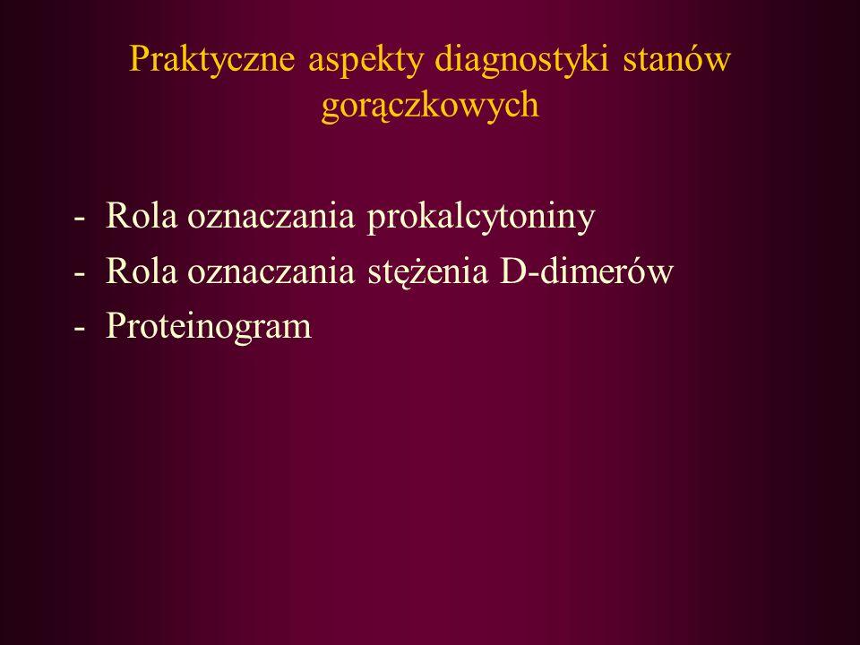 Praktyczne aspekty diagnostyki stanów gorączkowych -Rola oznaczania prokalcytoniny -Rola oznaczania stężenia D-dimerów -Proteinogram