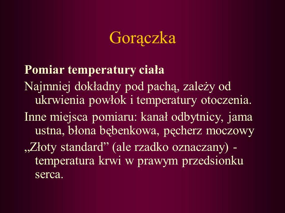 Gorączka Pomiar temperatury ciała Najmniej dokładny pod pachą, zależy od ukrwienia powłok i temperatury otoczenia. Inne miejsca pomiaru: kanał odbytni