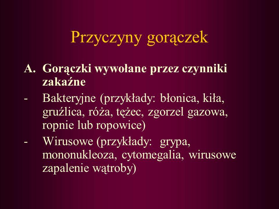 Przyczyny gorączek -Grzybicze (przykłady: histoplazmoza, uogólniona kandydoza) -Pasożytnicze (przykłady: amebioza, toksoplazmoza, zimnica, glistnica, lamblioza)