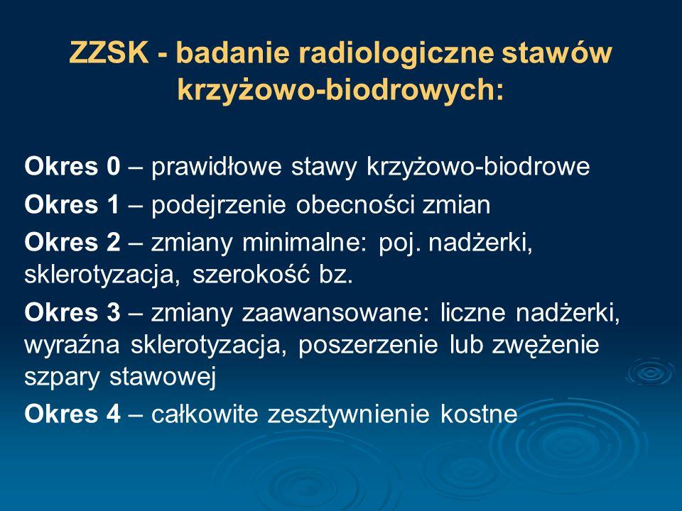 ZZSK - badanie radiologiczne stawów krzyżowo-biodrowych: Okres 0 – prawidłowe stawy krzyżowo-biodrowe Okres 1 – podejrzenie obecności zmian Okres 2 –