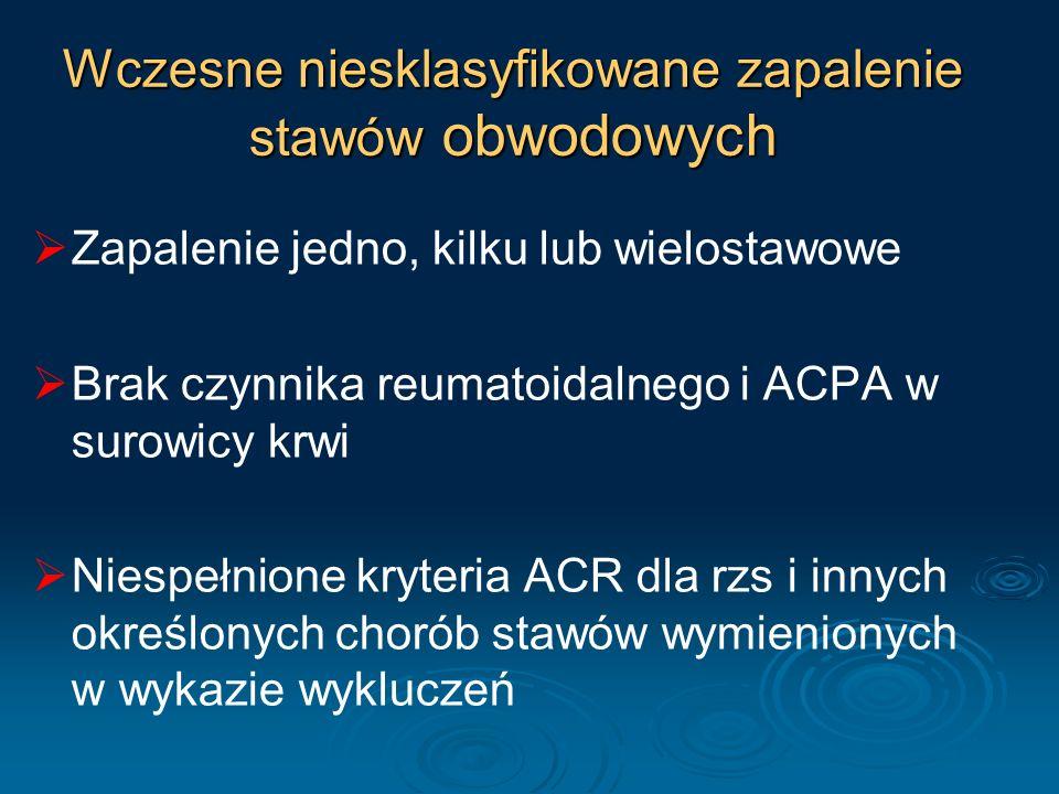 Wczesne niesklasyfikowane zapalenie stawów obwodowych Zapalenie jedno, kilku lub wielostawowe Brak czynnika reumatoidalnego i ACPA w surowicy krwi Nie