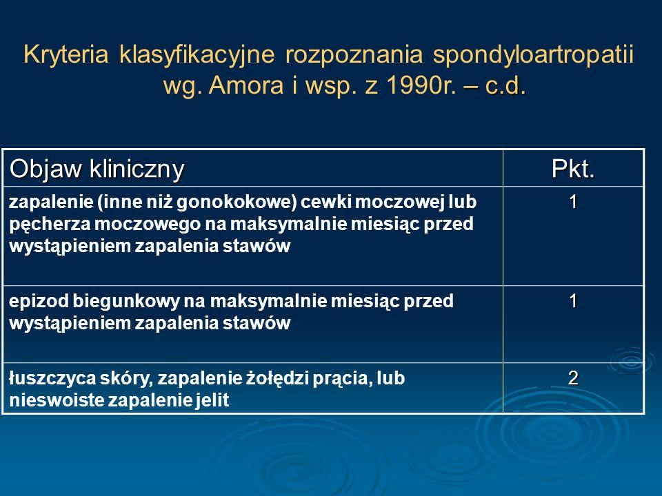 Zapalny Ból Pleców TAK ( 14% ) NIE ( <2% ) Rozważ inną diagnozę lub poczekaj na pojawienie się innych nowych objawów typowych dla SpA Wykonaj RTG RTG ( – ) Sprawdź obecność objawów: 1) zapalenie ścięgna piętowego, 2) dactylitis, 3) niesymetryczne zapalenie stawów, 4) zapalenie tęczówki, 5) dodatni wywiad rodzinny, 6) choroba Leśniowskiego-Crohna, 7) ból pośladków, 8) łuszczyca skóry, 9) dobra reakcja na NLPZ, 10) podwyższone OB i/lub CRP) RTG ( + ) 3 objawy ( 80-95% ) 1 lub 2 objawy ( 35-70% ) ani jednego objawu ( 14% ) ZZSK HLB-B27( – ) ( <2% ) SpA HLB-B27( + ) ( 59% ) HLB-B27(– ) ( <10% ) HLB-B27( + ) ( 80-90% ) wykonajMR MR (+) ( 80-95% ) MR (–) ( <15% )