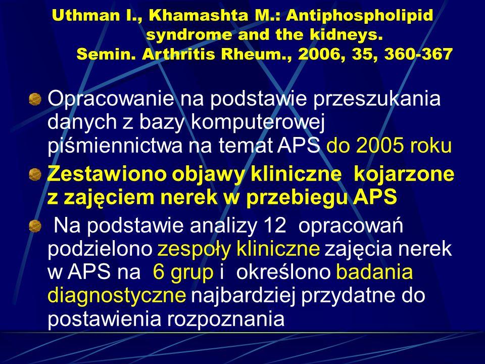 Uthman I., Khamashta M.: Antiphospholipid syndrome and the kidneys. Semin. Arthritis Rheum., 2006, 35, 360-367 Opracowanie na podstawie przeszukania d