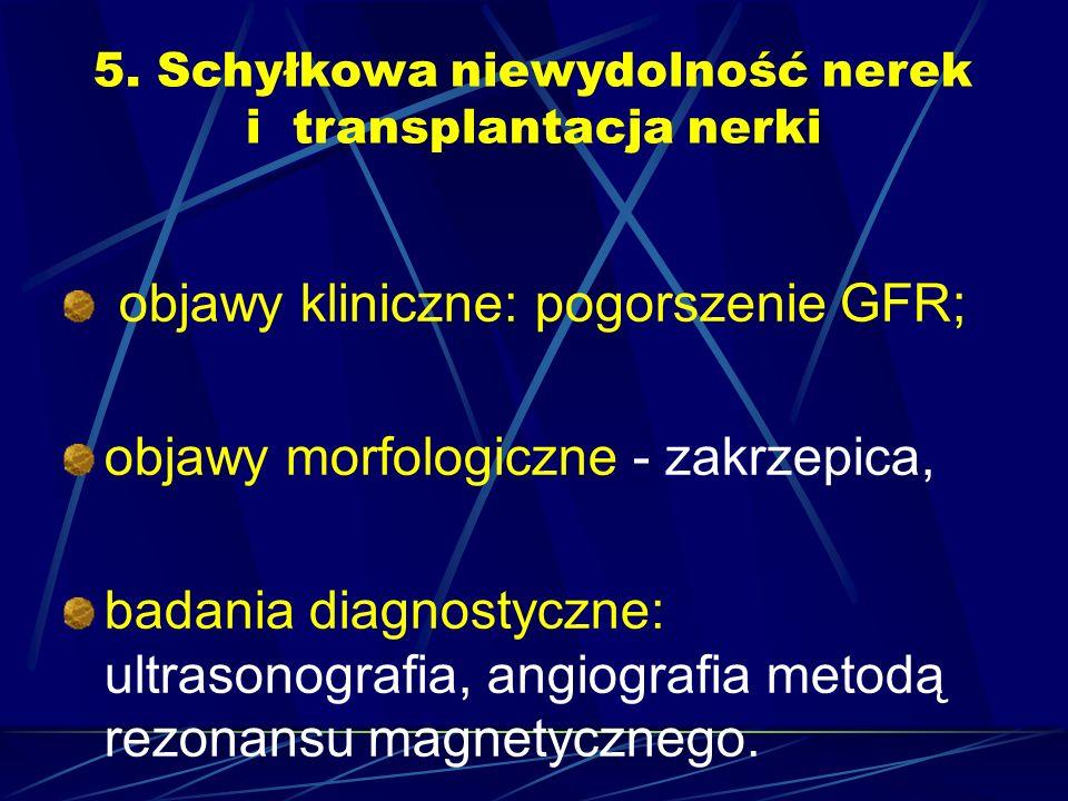 5. Schyłkowa niewydolność nerek i transplantacja nerki objawy kliniczne: pogorszenie GFR; objawy morfologiczne - zakrzepica, badania diagnostyczne: ul