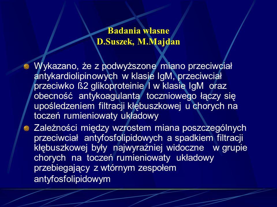 Badania własne D.Suszek, M.Majdan Wykazano, że z podwyższone miano przeciwciał antykardiolipinowych w klasie IgM, przeciwciał przeciwko ß2 glikoprotei