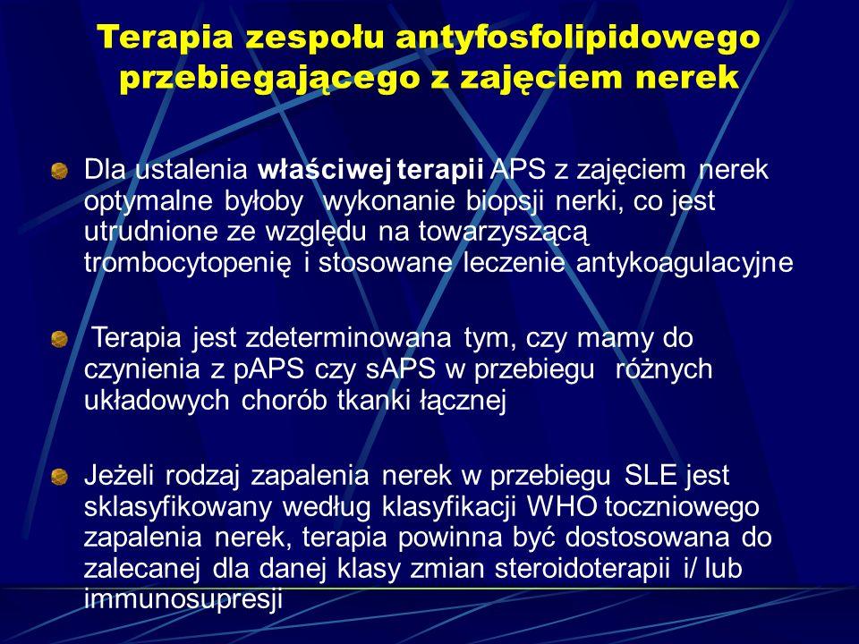 Terapia zespołu antyfosfolipidowego przebiegającego z zajęciem nerek Dla ustalenia właściwej terapii APS z zajęciem nerek optymalne byłoby wykonanie b