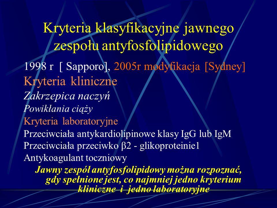 Kryteria klasyfikacyjne jawnego zespołu antyfosfolipidowego 1998 r [ Sapporo], 2005r modyfikacja [Sydney] Kryteria kliniczne Zakrzepica naczyń Powikła
