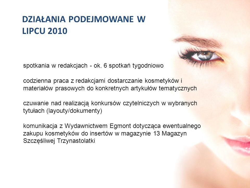 DZIAŁANIA PODEJMOWANE W LIPCU 2010 spotkania w redakcjach - ok. 6 spotkań tygodniowo codzienna praca z redakcjami dostarczanie kosmetyków i materiałów