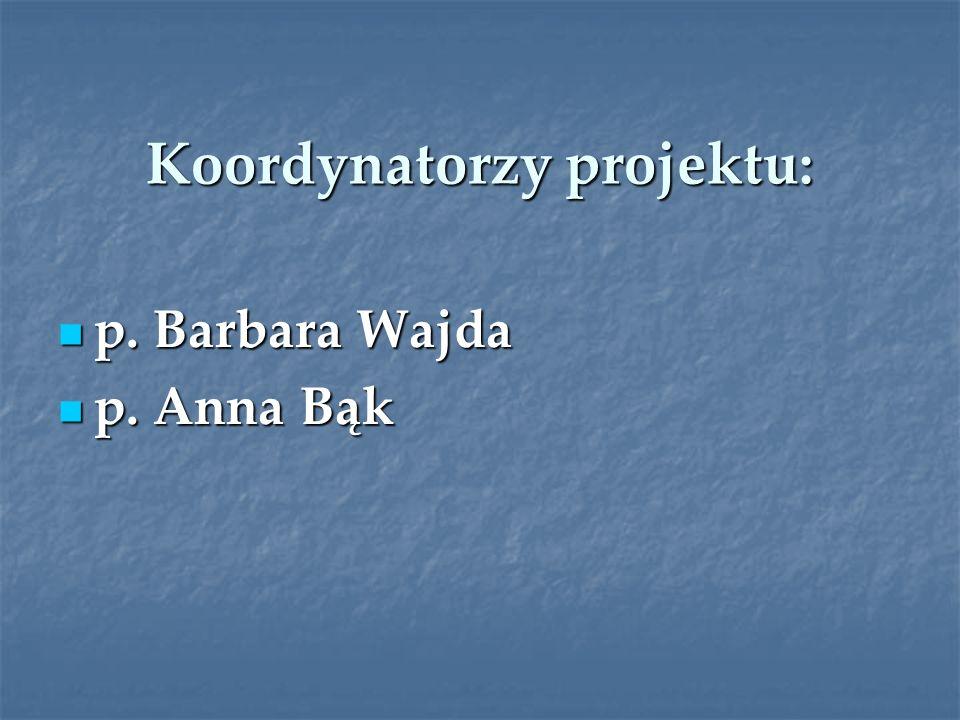 Koordynatorzy projektu: p. Barbara Wajda p. Barbara Wajda p. Anna Bąk p. Anna Bąk