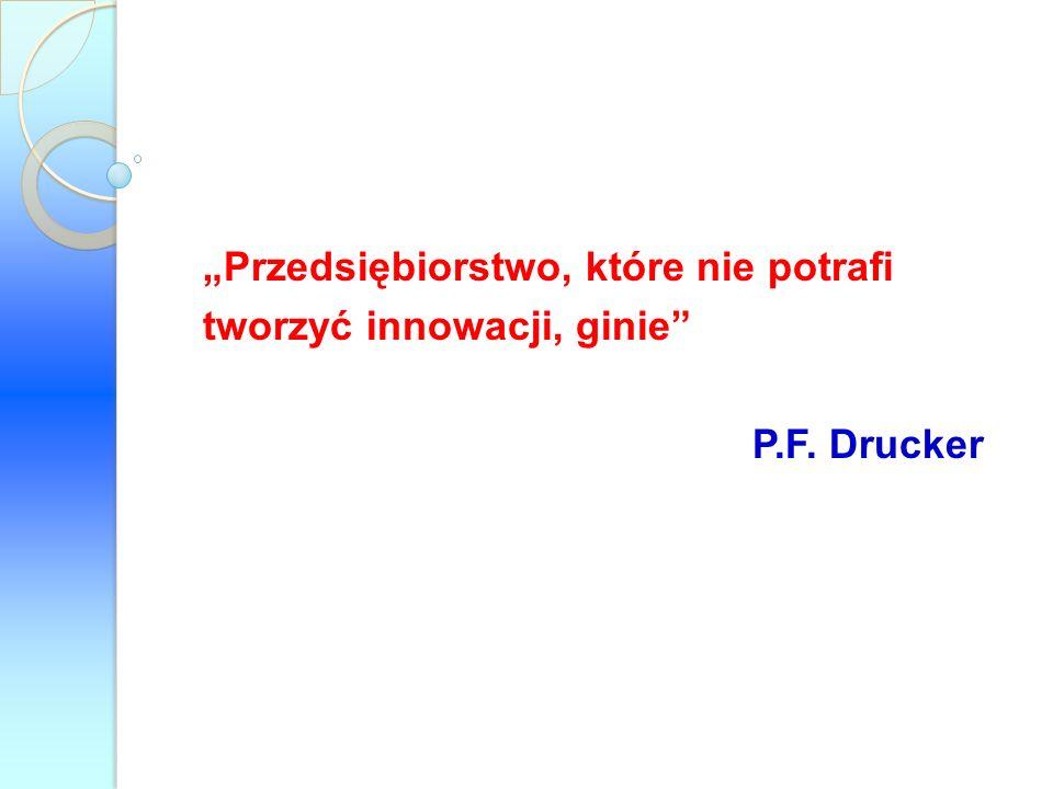 Przedsiębiorstwo, które nie potrafi tworzyć innowacji, ginie P.F. Drucker