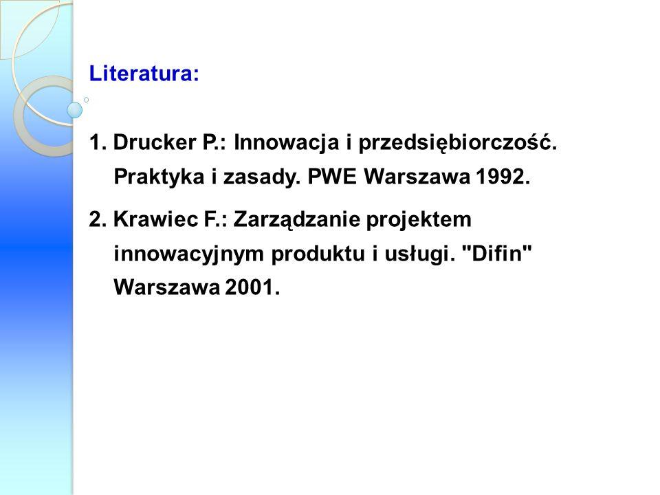 Literatura: 1. Drucker P.: Innowacja i przedsiębiorczość. Praktyka i zasady. PWE Warszawa 1992. 2. Krawiec F.: Zarządzanie projektem innowacyjnym prod
